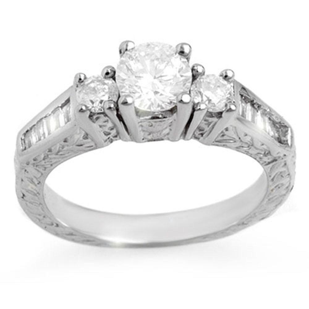 1.01 ctw Certified VS/SI Diamond Ring 18k White Gold -