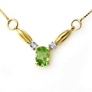 1.30 ctw Peridot & Diamond Necklace 10k Yellow Gold -