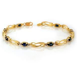 2.52 ctw Blue Sapphire & Diamond Bracelet 10k Yellow