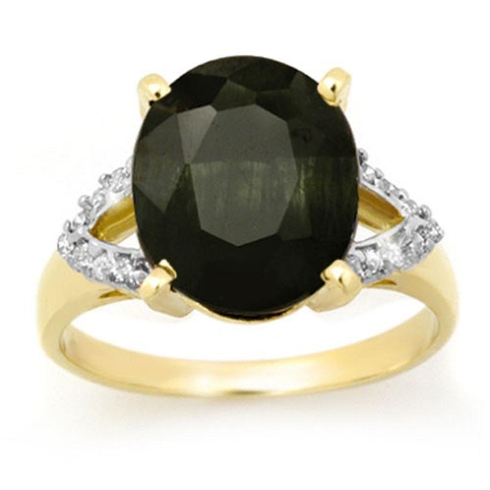 5.30 ctw Blue Sapphire & Diamond Ring 10k Yellow Gold -