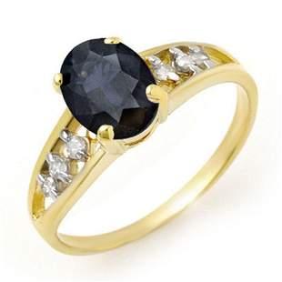 1.60 ctw Blue Sapphire & Diamond Ring 10k Yellow Gold -