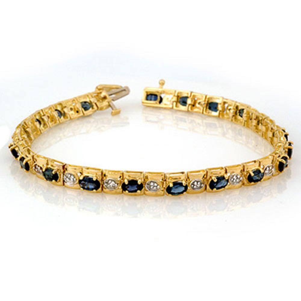 6.09 ctw Blue Sapphire & Diamond Bracelet 10k Yellow