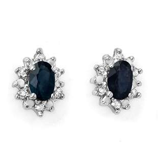 0.86 ctw Blue Sapphire & Diamond Earrings 10k Yellow