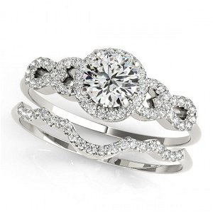 1.18 ctw Certified VS/SI Diamond 2pc Wedding Set 14k