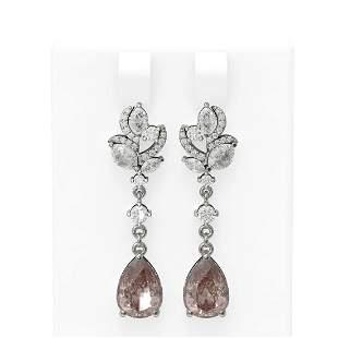 7.82 ctw Morganite & Diamond Earrings 18K White Gold -