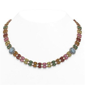 65.29 ctw Sapphire & Diamond Necklace 14K Rose Gold -