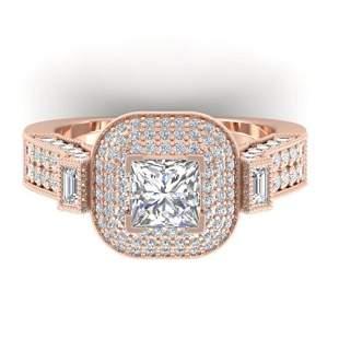 2.85 ctw Princess VS/SI Diamond Art Deco Micro Ring 14k