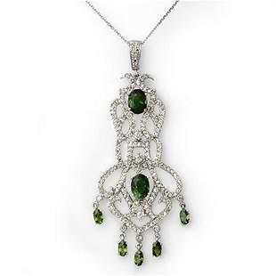7.65 ctw Green Tourmaline & Diamond Necklace 18k White