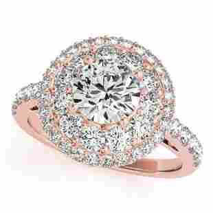 2.09 ctw Certified VS/SI Diamond Halo Ring 18k Rose