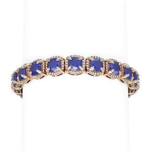 44.22 ctw Sapphire & Diamond Bracelet 18K Rose Gold -