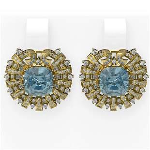 10.15 ctw Aquamarine & Diamond Earrings 18K Yellow Gold