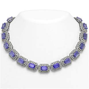 112.65 ctw Tanzanite & Diamond Victorian Necklace 14K
