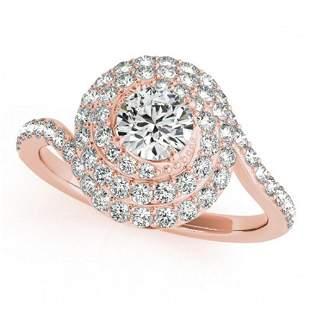 1.33 ctw Certified VS/SI Diamond Halo Ring 18k Rose