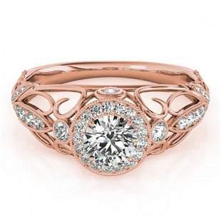 0.93 ctw Certified VS/SI Diamond Antique Ring 18k Rose