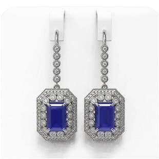 14.16 ctw Sapphire & Diamond Victorian Earrings 14K
