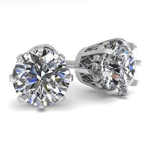 2.50 ctw VS/SI Diamond Stud Solitaire Earrings Vintage