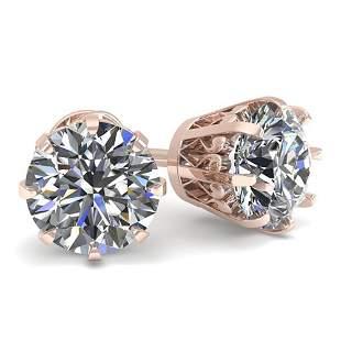 1.50 ctw VS/SI Diamond Stud Earrings Vintage 18k Rose