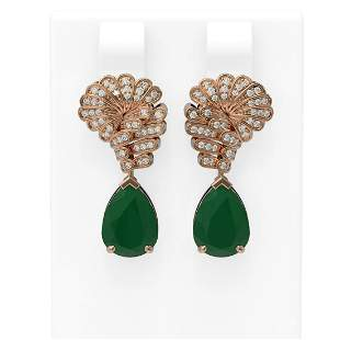 7.73 ctw Emerald & Diamond Earrings 18K Rose Gold -