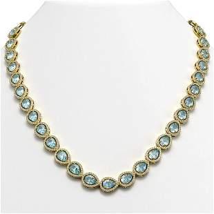 35.13 ctw Sky Topaz & Diamond Micro Pave Halo Necklace