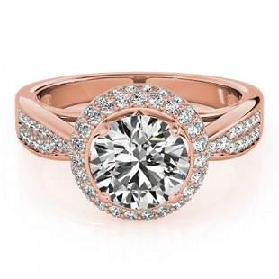 1.4 ctw Certified VS/SI Diamond Halo Ring 18k Rose Gold