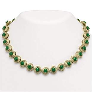 2.17 ctw Emerald & Diamond Victorian Necklace 14K