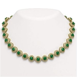 82.17 ctw Emerald & Diamond Victorian Necklace 14K