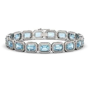 24.51 ctw Aquamarine & Diamond Micro Pave Halo Bracelet