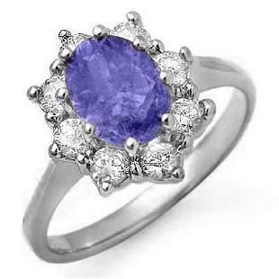 2.75 ctw Tanzanite & Diamond Ring 18k White Gold -