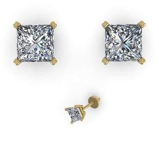 1.00 ctw Princess Cut VS/SI Diamond Designer Earrings