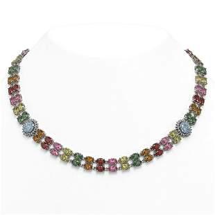 65.29 ctw Sapphire & Diamond Necklace 14K White Gold -