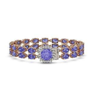 16.96 ctw Tanzanite & Diamond Bracelet 14K Rose Gold -