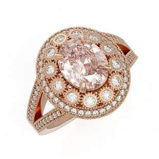 3.95 ctw Certified Morganite & Diamond Victorian Ring