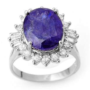 8.03 ctw Tanzanite & Diamond Ring 18k White Gold -