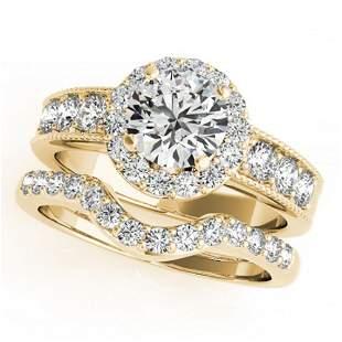 1.96 ctw Certified VS/SI Diamond 2pc Wedding Set Halo