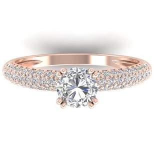 1.4 ctw Certified VS/SI Diamond Art Deco Micro Ring 14k