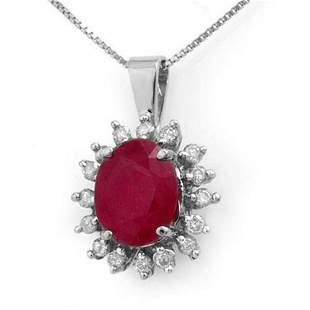 5.32 ctw Ruby & Diamond Pendant 14k White Gold -