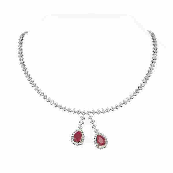 16.87 ctw Ruby & Diamond Necklace 18K White Gold -