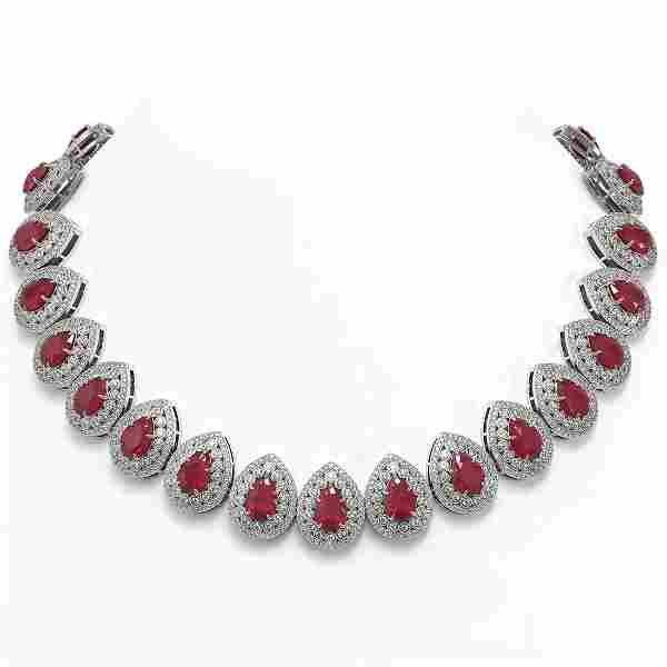 121.42 ctw Certified Ruby & Diamond Victorian Necklace