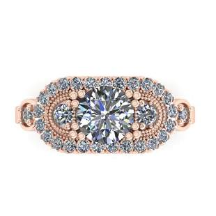 1.75 ctw Solitaire VS/SI Diamond Ring Art Deco 14k Rose