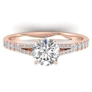 1.36 ctw Certified VS/SI Diamond Art Deco Ring 14k Rose