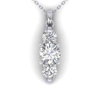 1.25 ctw VS/SI Diamond Art Deco 3 Stone Necklace 14k