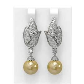 3.62 ctw Diamond & Pearl Earrings 18K White Gold -