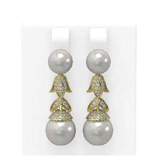 1.01 ctw Diamond & Pearl Earrings 18K Yellow Gold -