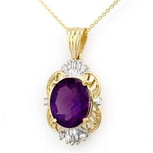 5.23 ctw Amethyst & Diamond Pendant 10k Yellow Gold -
