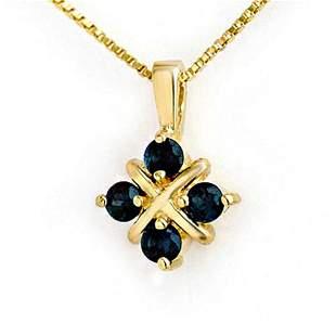 0.52 ctw Blue Sapphire Pendant 10k Yellow Gold -