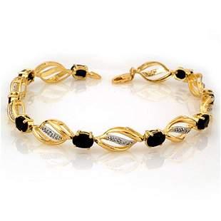 6.10 ctw Blue Sapphire & Diamond Bracelet 10k Yellow