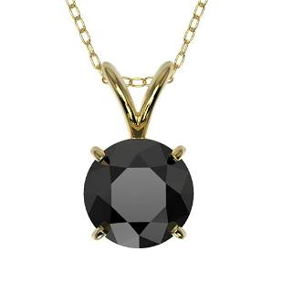 1 ctw Fancy Black Diamond Solitaire Necklace 10k Yellow