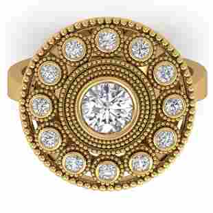 0.91 ctw Certified VS/SI Diamond Art Deco Ring 14k