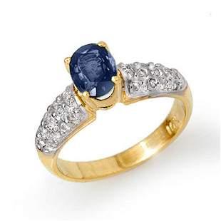 1.50 ctw Blue Sapphire & Diamond Ring 10k Yellow Gold -