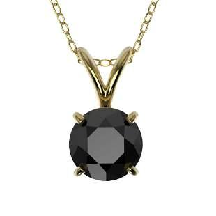 0.75 ctw Fancy Black Diamond Solitaire Necklace 10k